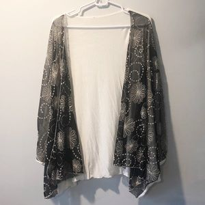 Black & White Duster with Celestial Embroidery, OS